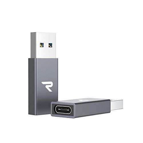 RAMPOW Adaptador USB C a USB 3.0, 2-Pack USB C Hembra a USB A Macho, Transmisión de Datos y Carga Rápida para MacBook, DELL, Samsung, Huawei, SanDisk, Google Pixel y Otros Dispositivos con USB C