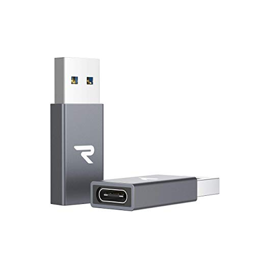 RAMPOW QC 3.0 USB A to USB C Adapter 2Pack, 5Gbps USB C Female to USB Male Adapter, USB 3.0 Type C Converter for iPhone 11,Airpods,iPad 2018,Samsung Galaxy Note 10/S9/S10/S20,Laptops - Space Gray