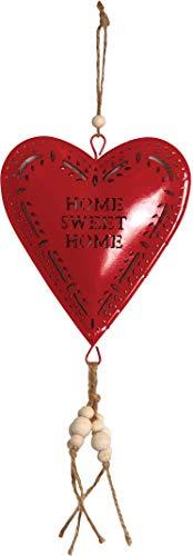 AUBRY GASPARD Coeur Rouge en métal à Suspendre Sweet Home 14 cm