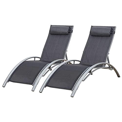 BAISAO - Tumbona Curva de Textilene y Aluminio - Cómoda y reclinable - Cojín de Cabeza - Ligera y fácil de Mover - Gris/Gris - X2