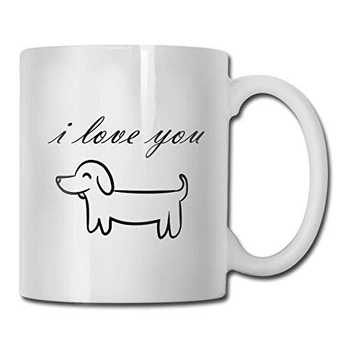 Taza para perro I Love You, taza de café para bebidas calientes, taza de gres, taza de café de cerámica, taza de té de 11 oz, regalo divertido, taza de té y café