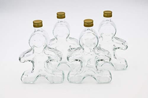 Flaschenbauer - 4 x Leere Glasflaschen 250ml Lebkuchenmann: Mini Glasflaschen mit Schraubverschluss Gold verwendbar als kleine Flaschen zum Befüllen, Leere Schnapsflaschen klein, Likörflaschen