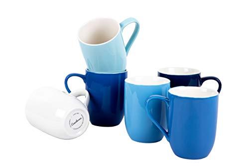 Casalanas 6-er Kaffee-Tassen-Set blau, Sky, 290 ml, Porzellan, modernes Design mit Set-weitem Farbverlauf