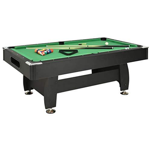 vidaXL Billardtisch 7-Fuß mit Billiardqueue Kreide Kugelset Bürste Pool Billiard Billard Tisch Billiardtisch 88kg 214x122x79cm Schwarz