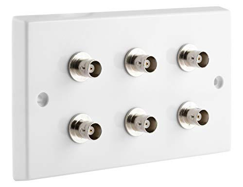 BNC x 6 - CCTV 2 Gang Wall Plate. NO SOLDERING REQUIRED