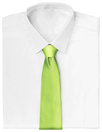 Loomiloo - Cravatta sottile con clip, per feste e affari verde fluo Taglia unica
