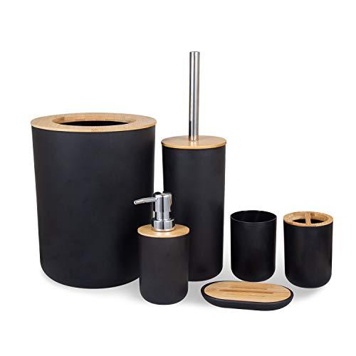 MisFox Set di 6 Accessori da Bagno, Accessori Bagno Set in bambù con Dispenser Sapone, Pattumiera, Portaspazzolino, Tazza da Denti, Spazzolino da Toilette e Portasapone,Nero
