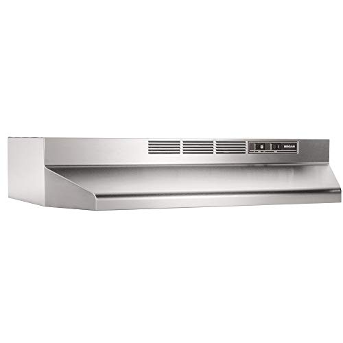 Broan-NuTone 413604 Non-Ducted Ductless Range Hood Insert with Light, Exhaust Fan for Under Cabinet, 36-Inch, Stainless Steel