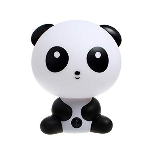 QJUU Panda Lámpara Noche para niños, Inicio luz Blanca ABS plástico para Dormitorio Mesa Escritorio Adecuado para Leer, Dormir, Dormitorio, Pasillo