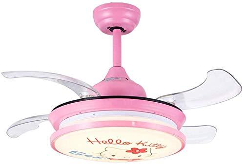 Onzichtbare ventilator hanglamp, kinder- en meisjesslaapkamer plafondventilatoren met lamp, LED-ventilator kroonluchter, wandbedieningsschakelaar, roze