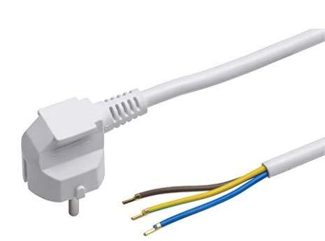 Cable protector de contacto, de plástico, 3 núcleos, IP20, cable de conexión con enchufe Schuko, material de instalación, color blanco