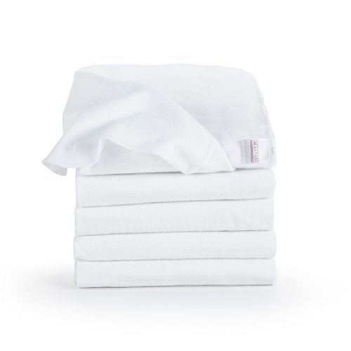 Moltontücher/Baumwolltücher - 5er Pack, 80x80 cm, weiß - PREMIUM QUALITÄT - Schadstoffgeprüft, Öko-Tex Standard 100, kochfest bei 95° C, super weich - Spucktücher, Flanelltücher