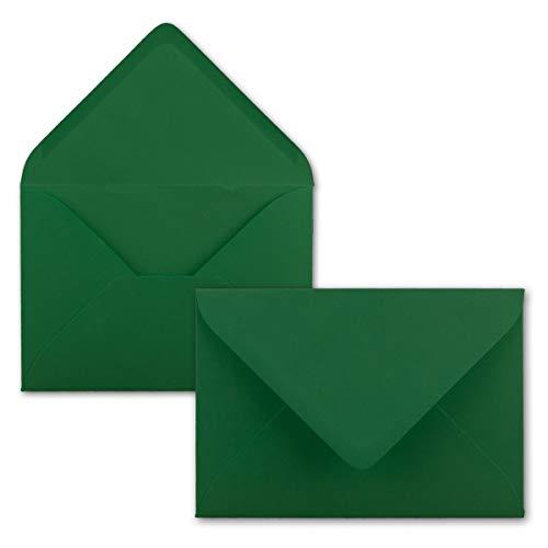Brief-Umschläge in Dunkelgrün - 75 Stück - DIN C5 Kuverts 22,0 x 15,4 cm - Nassklebung ohne Fenster - Weihnachten, Grußkarten - Serie FarbenFroh