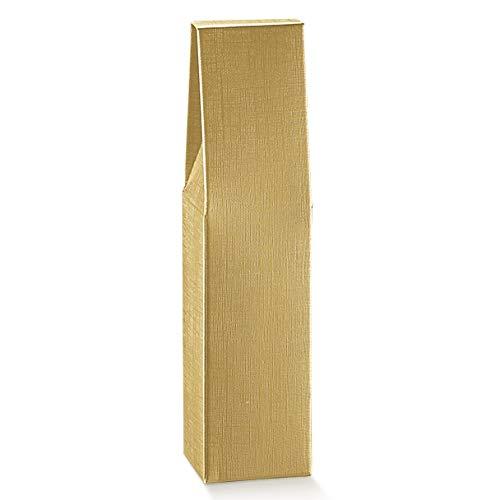 10 cajas doradas para 1 botella de vino vertical modelo Bordolese, Burgognoche...