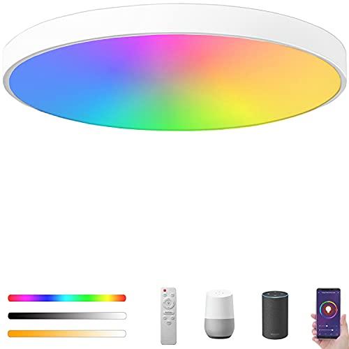 Alexa Plafoniera LED WiFi RGB Dimmerabile, Ø40cm 36W 3400LM Lampada da soffitto con Telecomando, Regolabile 2700K-6500K, Controllo da App e Voce, IP54 Impermeabile, Compatibile con Alexa e Google Home