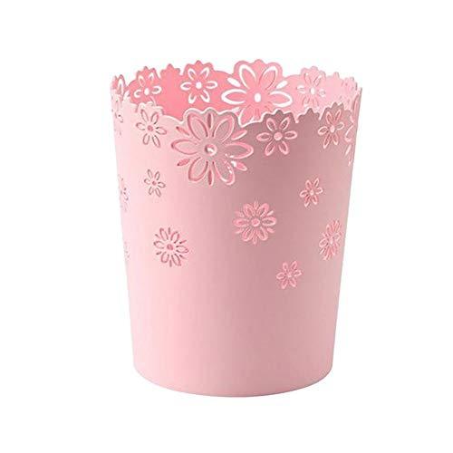 Fablcrew. Papierkorb, Blume, dekorativ, Korb, Vintage, ohne Deckel, für Küche, Bad, Wohnzimmer, Schlafzimmer, Büro, Café Rosa