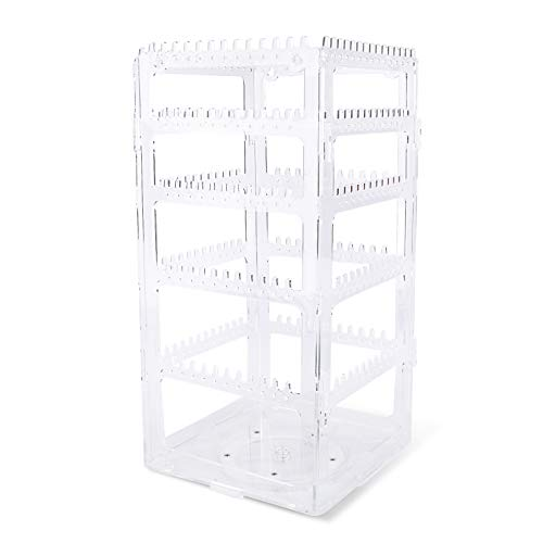 VINFUTUR Earring Holder Acrylic Jewellery Organizer 360 Rotating Jewellery Tower Display Stand Earrings Necklaces Bracelets Storage Rack (Transparent)