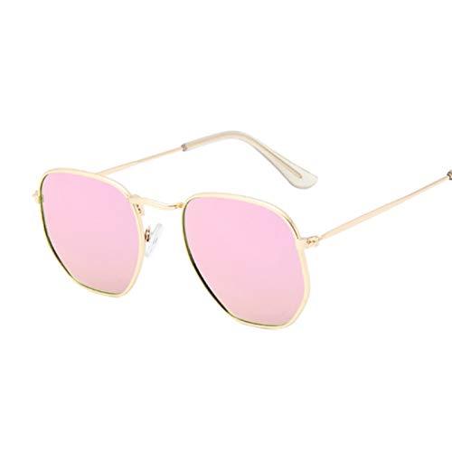 DNAMAZ Hexágono Gafas de Sol Hombres Lente Plana clásica Lámina Clara Gafas de Sol Masculina Mujer Retro Pequeño Marco de Metal Vidrio Cuadrado (Lenses Color : GoldPink)