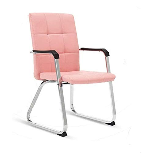 HYL Desk Chair Office Chair Office Chair Backrest Chair Office Chair Bow Foot Pu Leather Cushion Seat Ergonomics Low Back Computer Chair Household Learning Chair For Bedroom Office (Color : Pink)