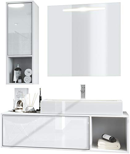 Vladon Badmöbel Komplettset La Costa, Korpus in Weiß matt/Fronten in Weiß Hochglanz, mit Aufsatzwaschbecken, Armatur und LED Spiegel