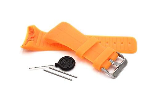 vhbw TPE Ersatz Armband kompatibel mit Polar M400, M430 Fitnessuhr, Smartwatch - 9.0cm + 12.2 cm orange