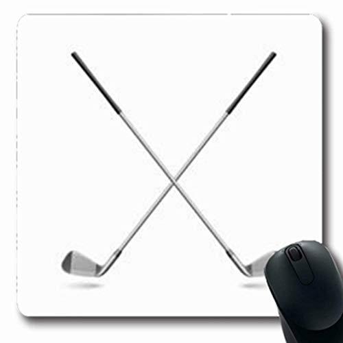 Gsgdae Mousepads Illustratisignia Raster Golfschläger Ausrüstung auf Aktivität Sport Preis Freizeit Schwarz Eisen Weiß Längliche Form 20 x 24 cm Rechteckiges Gaming-Mauspad Anti-Rutsch-Mauspad