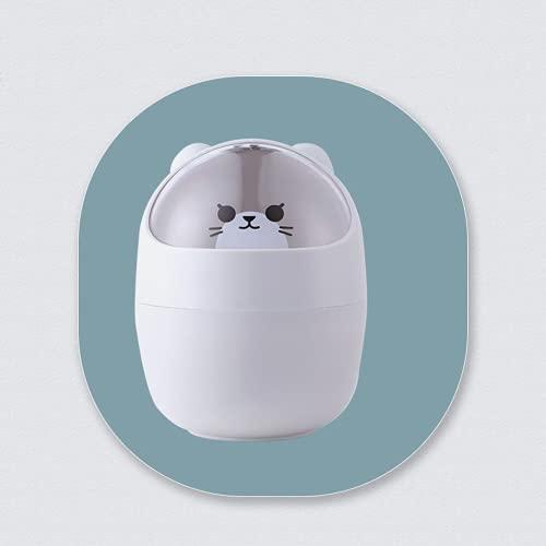 DFDFG Papelera multifunción con tapa para baño, cosméticos, escritorio, diseño de dibujos animados, color gris