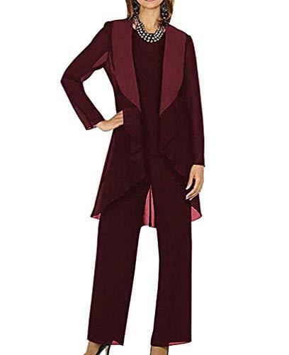Yulain Women's Mother Of The Bride Dress 3-Piece Pant Suit Set For Women