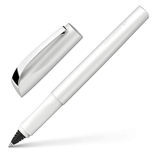 Schneider Ceod Shiny Tintenroller (Rechts- und Linkshänder, Strichstärke M, inkl. Tintenpatrone Königsblau) Pearl White