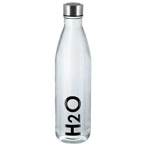axentia Unisex– Erwachsene Wasserflasche Trinkflasche aus Glas, transparent, 1 l