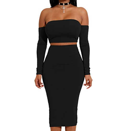 LINNUO Damen 2 Stück Sexy Kleid Backless Langarm Verband Bodycon Club Party Dress