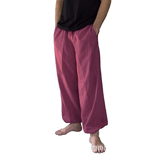 Grote maten herenbroek met elastische taille en trekkoord, basic halfhoge comfortabele all-match vrijetijdsbroek, met zakken L
