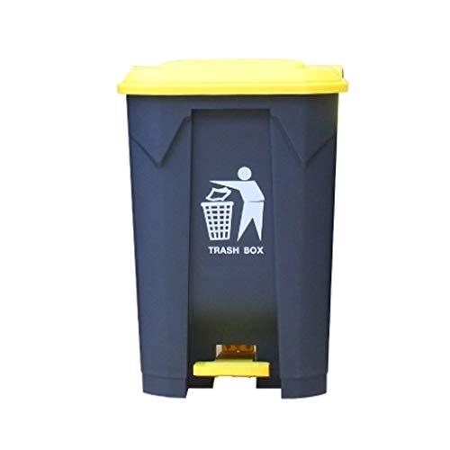 DQMSB Mülleimer große Outdoor-Pedal Kunststoff Mülleimer Eigentum kommerzielle Hygiene Box Küche Haushalt mit Deckel Verdickung (Farbe : Gray+Yellow, größe : 80L)