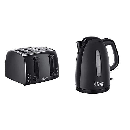Russell Hobbs 21651 Textures 4-Slice Toaster, Black with 21271 Textures Plastic Kettle, 1.7 L, 3000 W, Black
