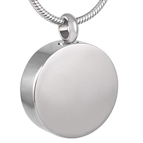 TIANZXS Polished Engravable Blank Round Pendant Memorial Ash Urn Necklace Cremation Jewelry for Ashes Colar Memory Keepsake Blank