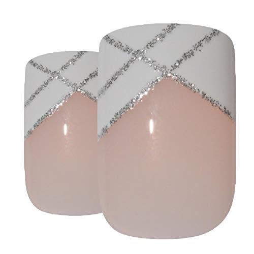 Faux Ongles Bling Art Argent Blanc 24 Squoval Moyen Faux bouts d'ongles acrylique avec de la colle