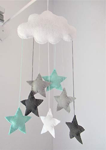 Handgemacht Filz Wolke Kinderzimmer Dekor Baby mobile, (Namen extra) Weiß, dunkel grau, hell grau und mint grün Sternen.