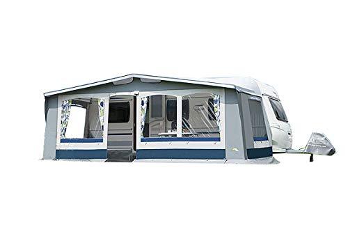 dwt Vorzelt Prinz II 240 blau/grau Saisonzelt Outdoor Wohnwagenvorzelt Ganzzelt 5-teilig Caravan, Größenauswahl:Gr. 11 Umlaufmaß 851-880 cm