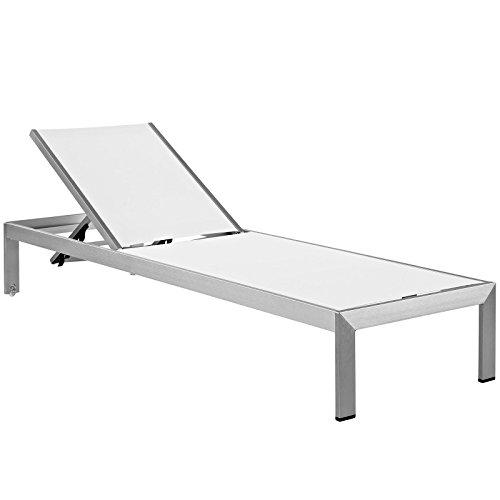 Modway Shore - Chaise da esterni in alluminio, colore: Argento/Bianco