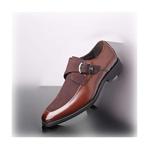 JINWEI Oxfords para Hombres DE MODELA Zapatos de Vestir Hebilla PU Cuero y Gamuza Banquete Plana Antideslizante Punta Redonda con Punta Superior de Monje (Color : Brown, Size : 47 EU)