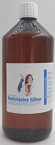 Kolloidales Silber 1000ml Hochrein, Silberwasser in brauner lichthemmender PET Medizinflasche (100ppm)