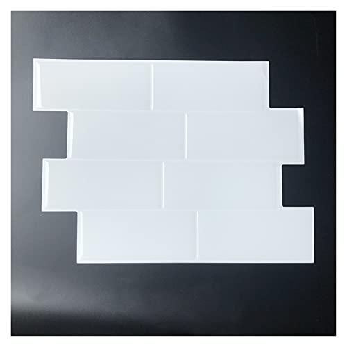 Wandfliesenaufkleber Ziegelfliese Peel und Stock Selbstklebende Wandtattooaufkleber DIY 3D Küche Badezimmer Wohnkultur Vinyl Wärmedämmung (Color : White)