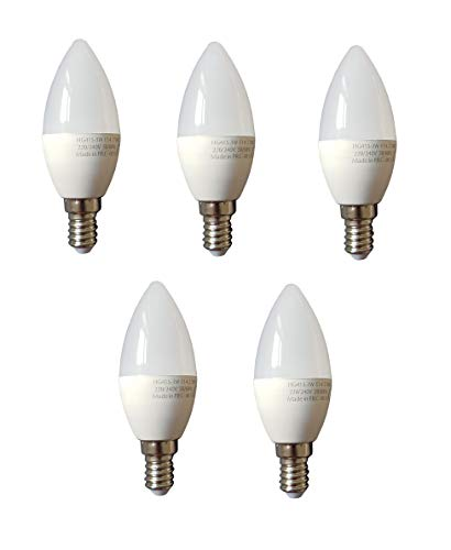 Lampadina a LED a risparmio energetico, E14, set da 5 pezzi, 5 x 3 Watt, 250 lumen, luce bianca calda, 2700 K
