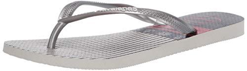 Havaianas Women's Slim Nautical Flip-Flop, White/Silver, 9-10