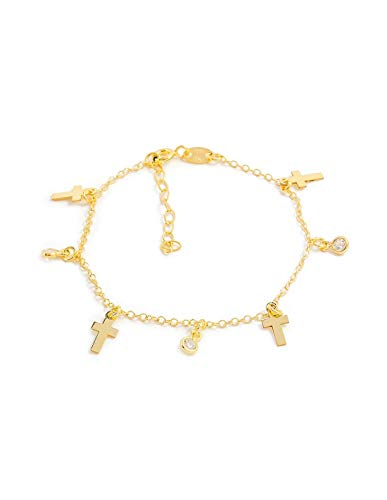 Armband mini-kruis zirkonia 925 sterling goud zilver
