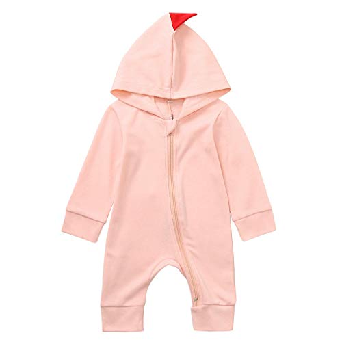 Wekdeg Overall für Kinder, Neugeborene Jungen Jungen Warme Dinosaurier Reißverschluss Kapuze Strampler Kleidung