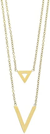 Aleasha V Layered Necklaces Gold Plated Double V Pendant Lariat Necklace Chain for Women Valentines Day Gifts for Girlfriend Romantic Gifts for Her