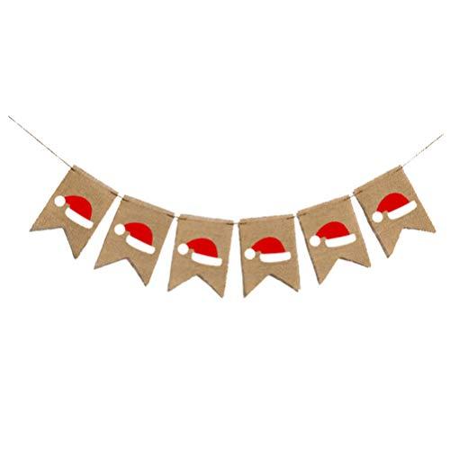 Amosfun Kerstmis Hoed Banner jute Santa Hat Bunting Banner Swallowtail Vlag Party slinger voor Kerstmis Vakantie Feest Decoratie benodigdheden