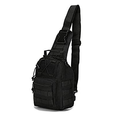 LBlanco Tactical Shoulder Sling Bag Small Outdoor Chest Pack for Men Traveling, Trekking, Camping, Rover Sling Daypack(Black)