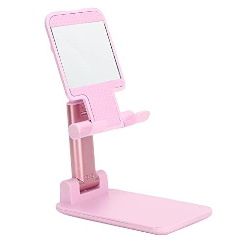 PUSOKEI Soporte para teléfono móvil, Soporte para teléfono Celular Plegable Rosa, Soporte de Escritorio Ajustable para Tableta, para Video Corto de Chase Drama, con Espejo de Maquillaje(Rosa)